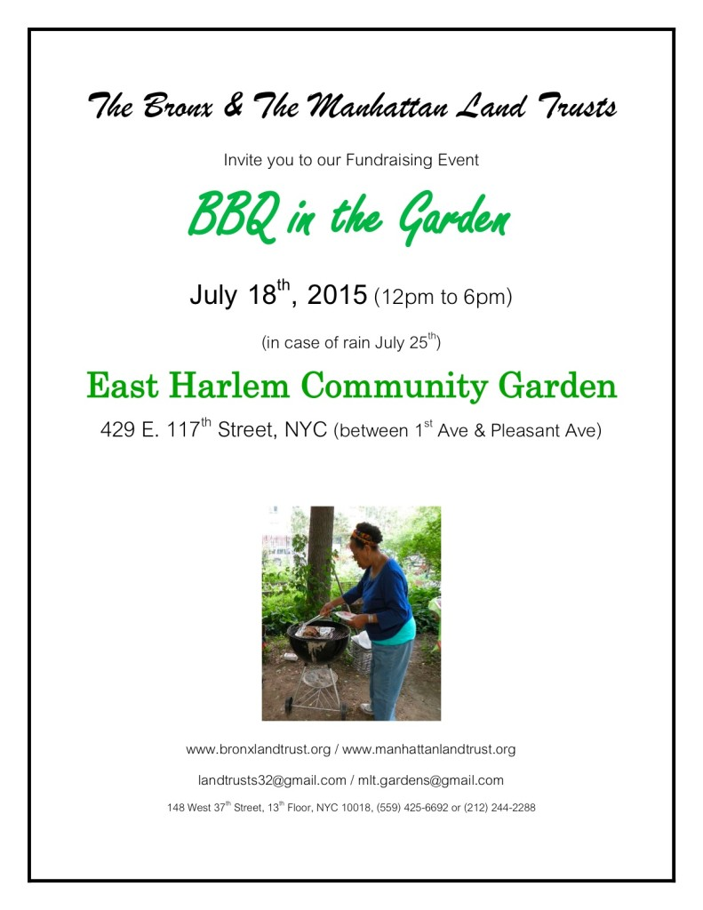 BBQ In The Garden - hosted by East Harlem Community Garden