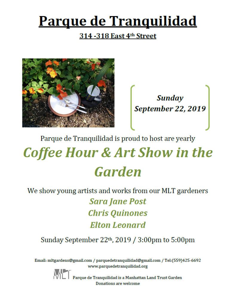 Flyer for coffee hour and art show in parque de tranquilidad