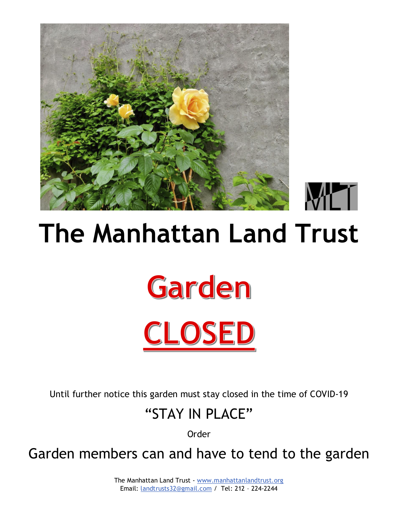 Manhattan Land Trust gardens are closed to the public due to COVID-19