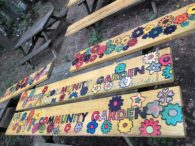 Wooden planks painted with flowers