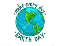 Image of the earth with the words make every day Earth Day